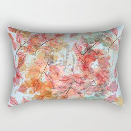 Watercolor autum foliage on blue Rectangular Pillow
