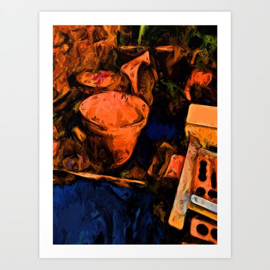 Abandoned Orange Pots with some Blue Art Print