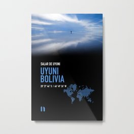 Salar de Uyuni, Bolivia. Travel poster. Metal Print