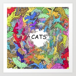 Colorful Rainbow Cats Art Print