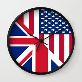 American and Union Jack Flag Wall Clock