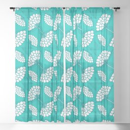 African Floral Motif on Turquoise Sheer Curtain