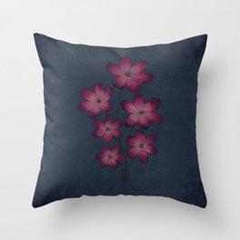 Burgon Wildflower  Lineart Grunge Bohemean Romance  Throw Pillow