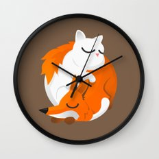 Fox and cat Wall Clock
