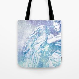 Celestial Guardian Angel Periwinkle Blue Tote Bag