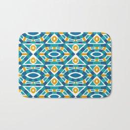 Orange teal watercolor moroccan motif pattern Bath Mat