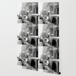 Llama Riding in Taxi, Black and White Vintage Print Wallpaper