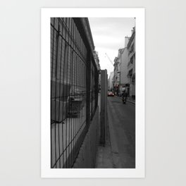Paris urban black and white with color Art Print