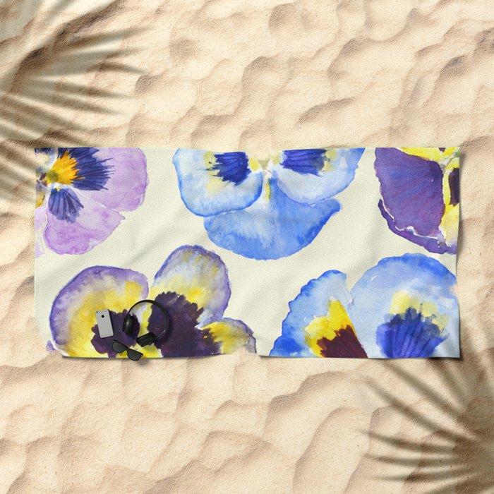 pansies pattern watercolor painting Beach Towel