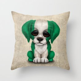 Cute Puppy Dog with flag of Nigeria Throw Pillow