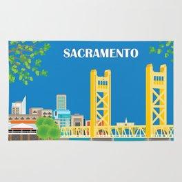 Sacramento, California - Skyline Illustration by Loose Petals Rug