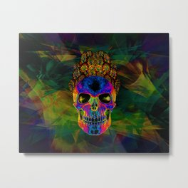 SKULL WITH FLOWER HAIR Metal Print