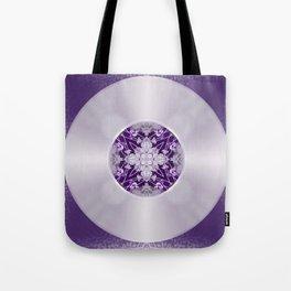 Vinyl Record Illusion in Purple Tote Bag