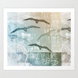 Free Like A Bird Seagull Mixed Media Art Art Print