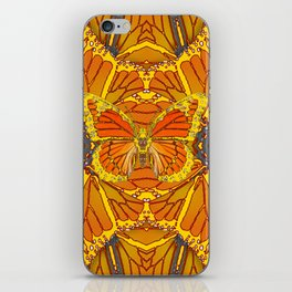 ORIGINAL ABSTRACT ART OF YELLOW-GOLD MONARCH BUTTERFLIES PUZZLE iPhone Skin