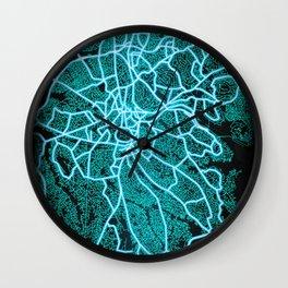 Kampala, Uganda, Blue, White, Neon, Glow, City, Map Wall Clock