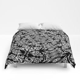 Fallen Leaves Black and White Kaleidescope Comforters