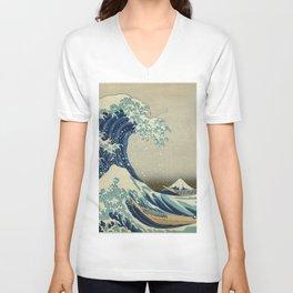 The Classic Japanese Great Wave off Kanagawa Print by Hokusai Unisex V-Neck
