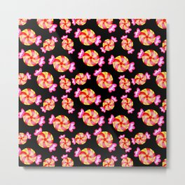 Cute lovely sweet festive decorative candy pattern on black background. Candy store. Metal Print