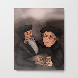 John Calvin and Martin Luther, Pub Theology Metal Print