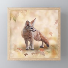 Fennec Fox watercolor illustration on autumn background Framed Mini Art Print