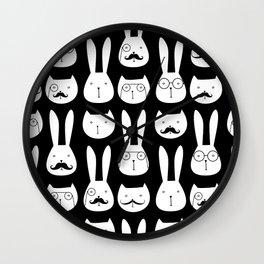 cats and rabbits Wall Clock