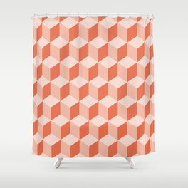 Diamond Repeating Pattern In Living Coral Shower Curtain