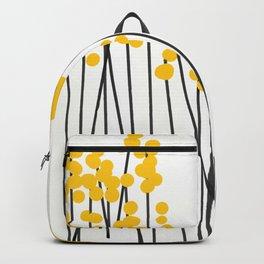 Hello Spring! Yellow/Black Retro Plants on White #decor #society6 #buyart Backpack