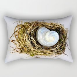 BIRD NEST AND WHITE SEASHELL Rectangular Pillow