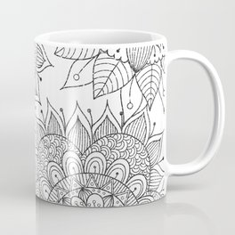 Hand painted black white floral mandala Coffee Mug