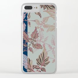Tomatoes leaves in coral and blue Pantone palette Clear iPhone Case