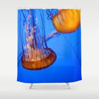 jelly fish Shower Curtains featuring Jelly Fish by World Photos by Paola