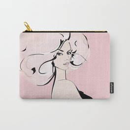 Blonde Lady in Black Carry-All Pouch