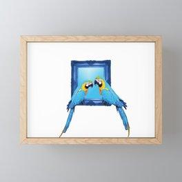 macaw Bird sitting on frame white Framed Mini Art Print