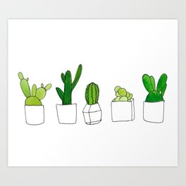 Friendly family of succulents Art Print