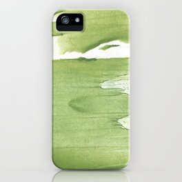 Green khaki clouded wash drawing texture iPhone Case