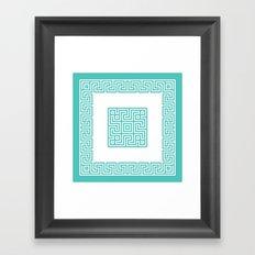 Greek Key turquoise Framed Art Print