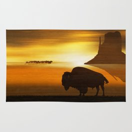 The lonely bison Rug
