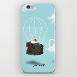 Isolated Chocolate cherry cake with parachute on blue sky background iPhone Skin