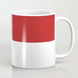 White and Firebrick Red Horizontal Halves Coffee Mug