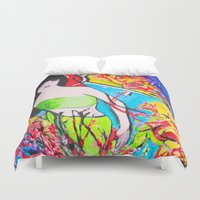 cherry blossom Duvet Covers featuring Cherry Blossom by Ming Myaskovsky
