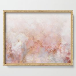 Beautiful Pink and Gold Ombre marble under snow Serving Tray