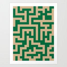 Tan Brown and Cadmium Green Labyrinth Art Print