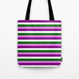 Violet, Purple, White, and Dark Green Striped/Lined Pattern Tote Bag