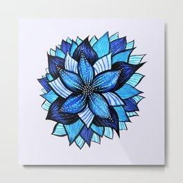 Abstract Blue Flower Ink Drawing Metal Print