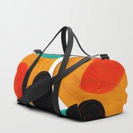 Mid Century Modern Abstract Minimalist Retro Vintage Style Rolie Polie Olie Bubbles Teal Orange Duffle Bag