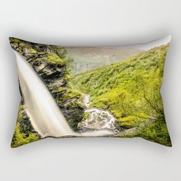 Waterfall down the cliff forming a river in nature Rectangular Pillow