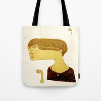 shameless Tote Bags featuring Shameless by Julia Yellow