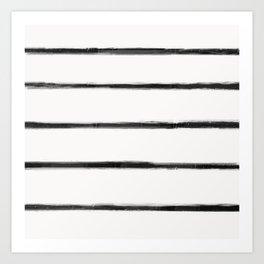 Skinny Strokes Gapped Horizontal Black on Off White Art Print