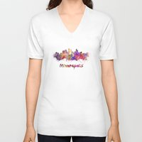 minneapolis V-neck T-shirts featuring Minneapolis skyline in watercolor by Paulrommer